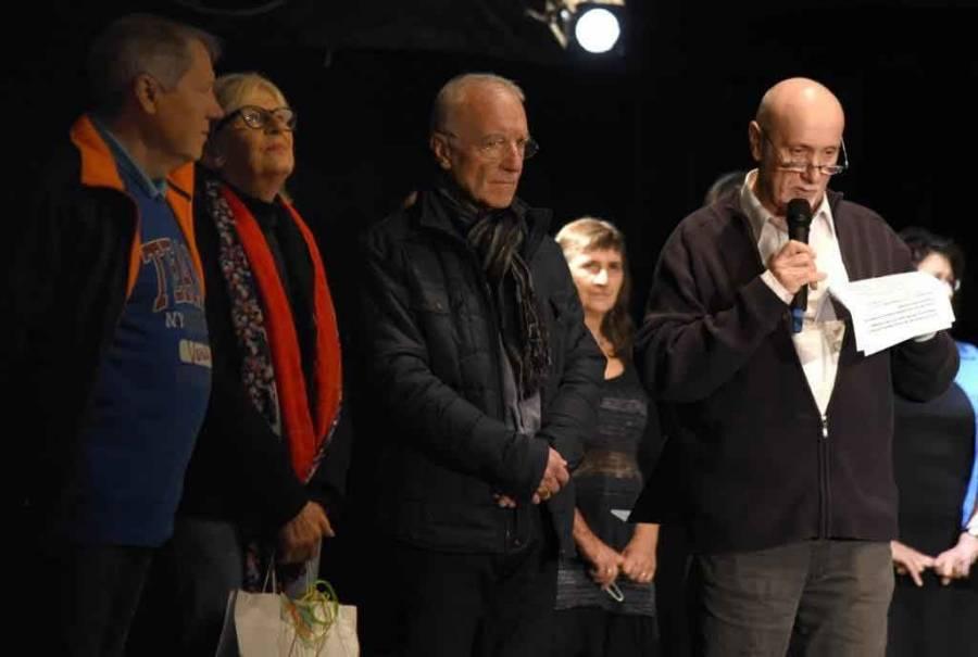 Le vernissage avec les responsables du GAL, André Defour, maire de Lapte et Gérard Déchaumet président d'ART'Terre