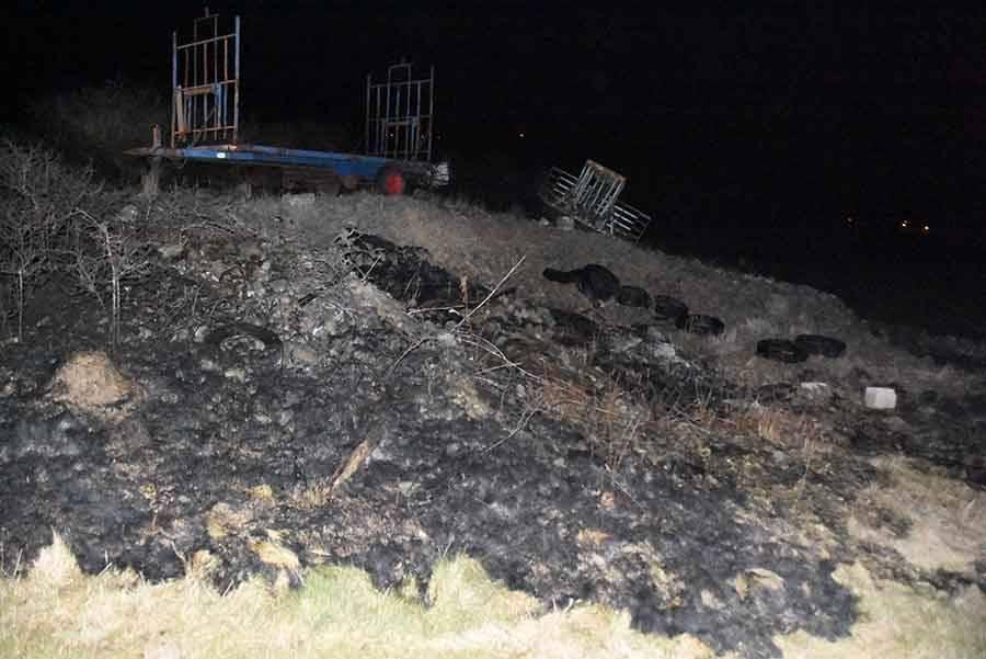 Laussonne : le feu de végétation se propage à un tas de 150 pneus