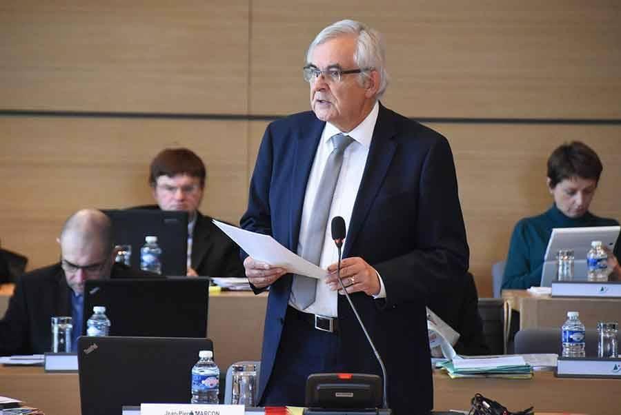 Jean-Pierre Marcon lors de son discours.