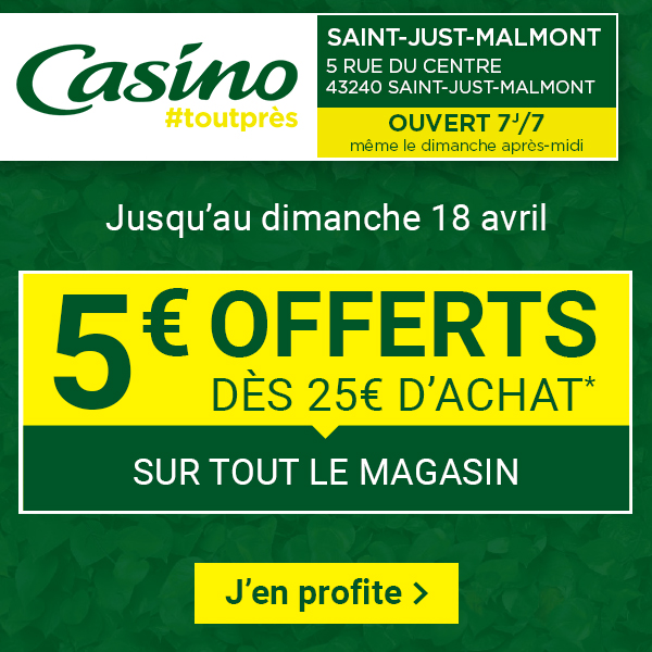 Saint-Just-Malmont Casino avril 2021