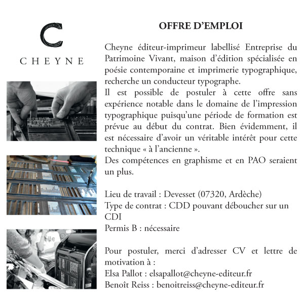 Cheyne Editeur offre emploi