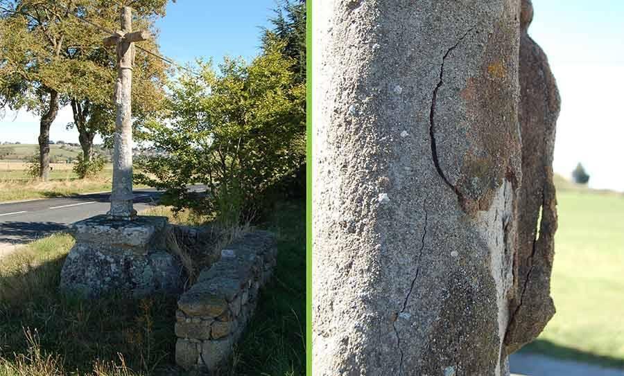 Saint-Didier-en-Velay : une croix en pierre refaite à l'identique à « Chazelles »
