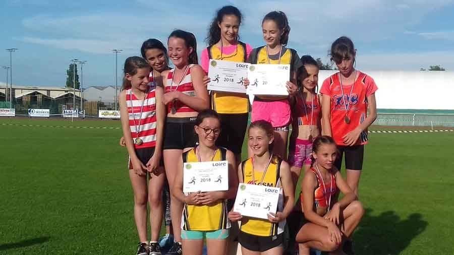 Le relais 4x60m filles est champion de la Loire en 34''59