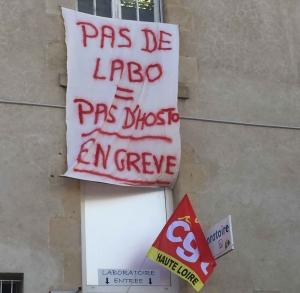 Les techniciens du laboratoire de l'hôpital Emile-Roux manifestent