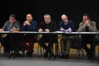 Jean-Pierre Santy (Saint-Bonne-le-Froid), Guy Peyrard (maire de Riotord), Bernard Souvignet (maire de Raucoules, nouveau président), David Charbonnier (directeur du Pays de Montfaucon) et Jean Fayard (maire de Montfaucon)