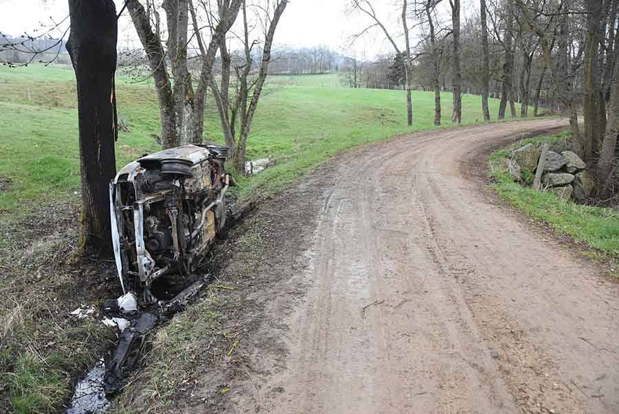 Yssingeaux : une voiture retrouvée accidentée et incendiée à « Gamby »