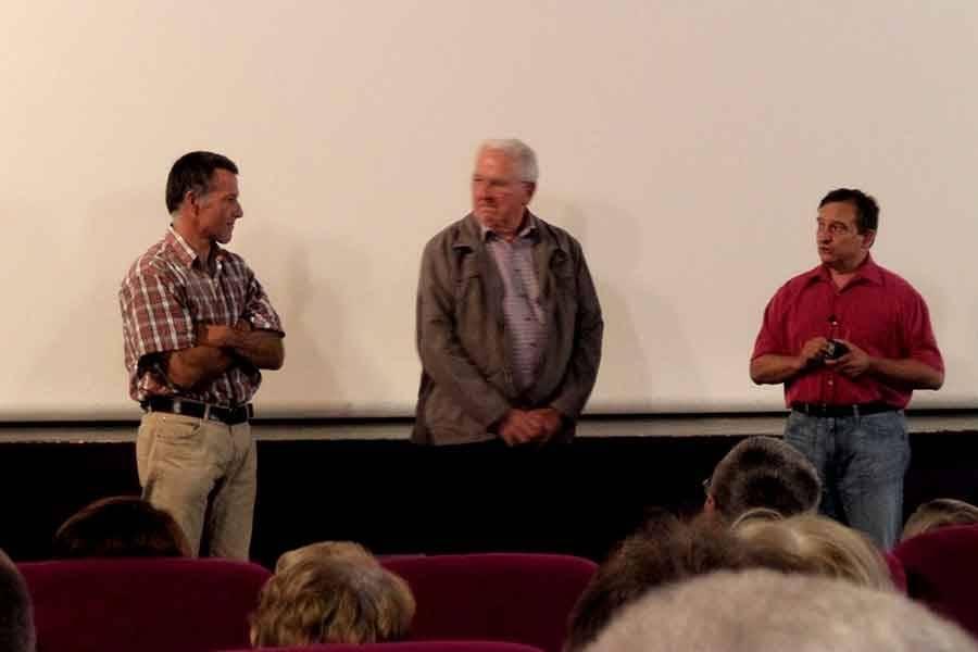 Deux agriculteurs ont témoigné, Lionel Souvignet producteur de viande et Robert Chouvier, producteur de lentilles vertes du Puy.