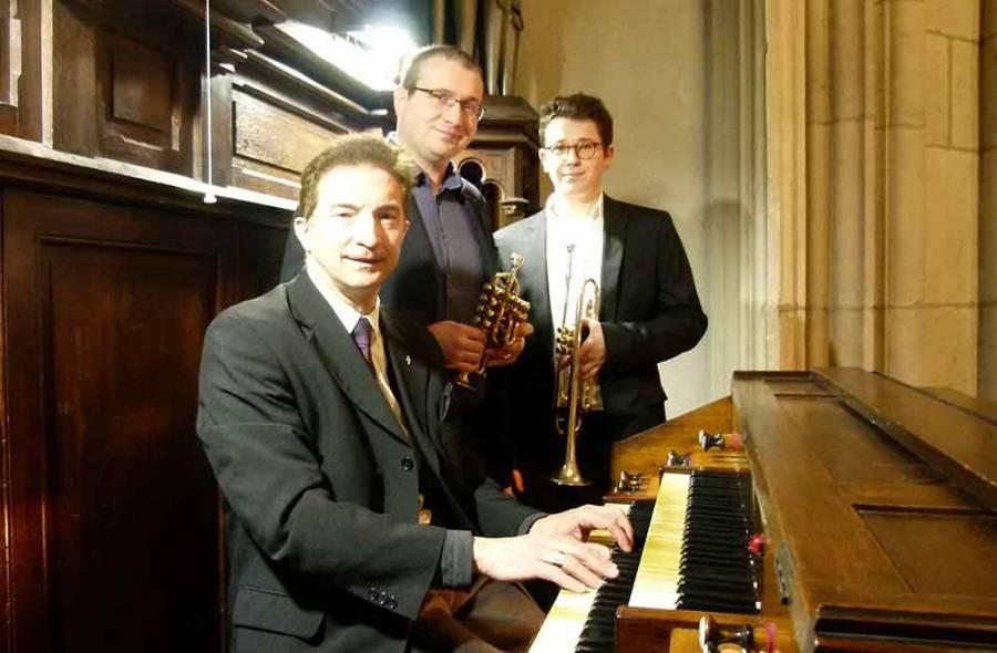 Pierre Astor organiste, Sylvain Montellier et Jean-Baptiste Bresson trompettistes.