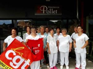 Riotord : des agents de l'Ehpad Le Triolet manifestent devant la maison de retraite