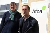 Isabelle Fichet (Sud) et Laurent Dufaud (CGT), délégués syndicaux de l'AFPA Haute-Loire.