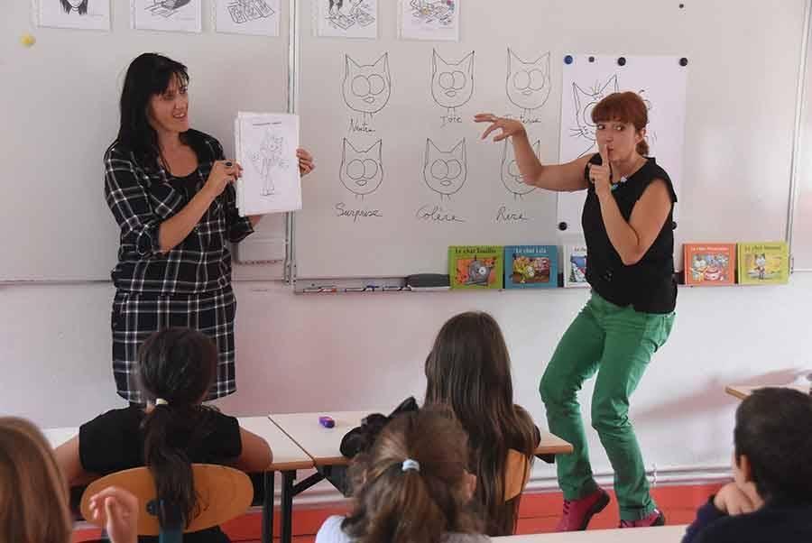 Stéphanie Dunand-Pallaz et l'illustratrice Sophie Turrel.