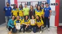 L'équipe de Monistrol en présence de la marraine de la compétition Sonia Bompastor, ex-joueuses professionnelle